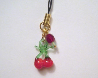 Cherry cell phone charm