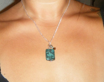 Dark teal dyed agate necklace