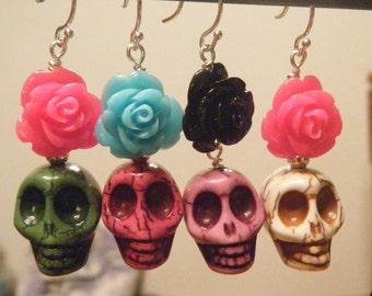 Skulls and Roses earrings