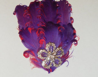 Fancy & Fun - purple and red feather hair clip