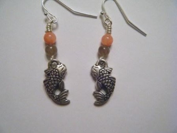Silver koi fish earrings with jade beads for Koi fish beads