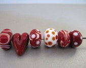 Handmade Valentine Bead Set Lampwork SRA Red Heart and Red and White Beads Polka Dots