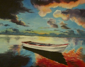 Print of Sunset Painting, Boat Painting, Seascape, Fisherman
