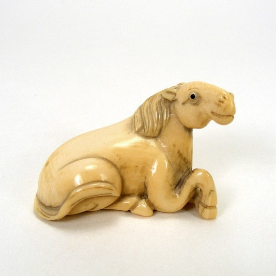 Genuine Ivory Netsuke - Horse - Pre Ban - Vintage - Katabori Style - 1 piece
