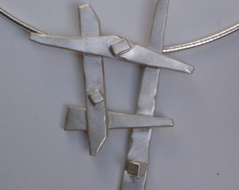 Sterling Silver Pick-up Sticks with Silver Building Blocks