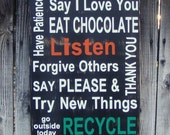 FAMILY RESOLUTIONS Subway Art Sign - Do Your Best, Use Kind Words...