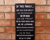 In This Family We Do... Family Rules Wood Sign