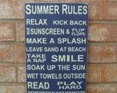 Summer Rules Subway Word Art (Navy)- Wood Sign