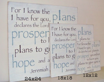 Extra Large (24x24in.)  Jeremiah 29:11 For I Know the Plans I Have for You - Wood Sign