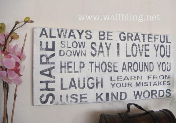Horizontal Distressed Subway Art Sign - Always Be Grateful, Say I Love You... 18x36 (for Raelene)