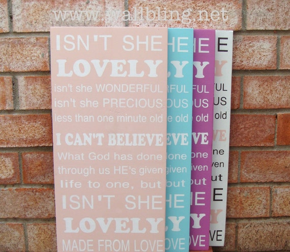Baby Girl Subway Art Wood Sign - Isn't She Lovely - Perfect for the Nursery - Choose Your Color Scheme (12x24)