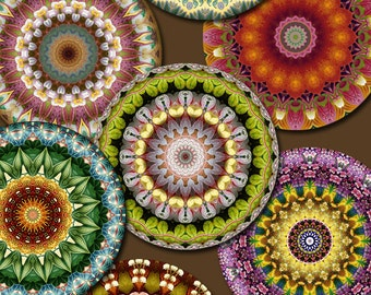 1 inch KALEIDOSCOPE FLOWERS Digital Printable Circles collage sheet for Jewelry Pendants Magnets Crafts...mandala flower bouquet OOAK