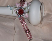 Raspberry Sorbet colored Watch with Beaded Watchband