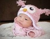 Crochet Fuzzy Pink Owl Hat (Newborn)