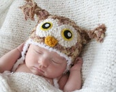 Crochet Multi-color Plushy Owl Hat (Newborn - Tan/Light Brown/Dark Brown)
