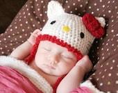 Crochet Hello Kitty Hat (Newborn - Red Trim)