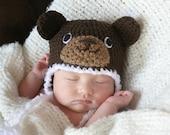 Crochet Dark Brown Bear Hat (Newborn)