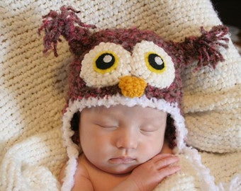 Crochet Fuzzy Pink/Brown Owl Hat (Newborn)