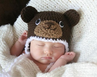 Crochet Dark Brown Bear Hat (Newborn)