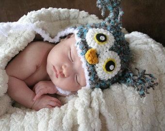 Crochet Fuzzy Blue/Brown Owl Hat (Newborn)