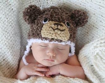 CLEARANCE - Crochet Fuzzy Brown Bear Hat (1-3m)