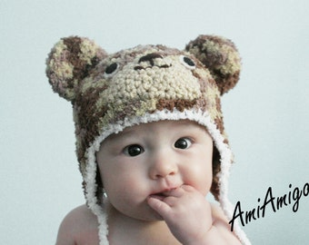 Crochet Plushy Bear Hat (3 -6m - Tan/Light Brown/Dark Brown)