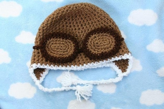 cool aviator crochet hat made to order available in baby to