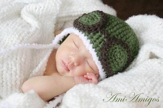 Crochet Dark Green Aviator Hat (Newborn)