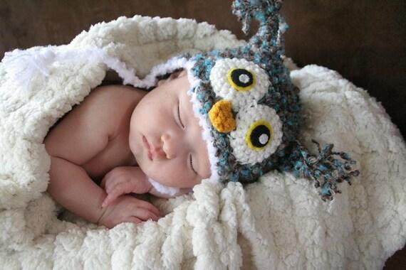 Crochet Fuzzy Blue/Brown Owl Hat (Newborn)