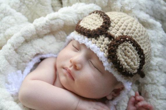 Crochet Tiny Aviator Hat (Tan - Newborn)