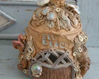 Fairy Cottage Pottery Jar