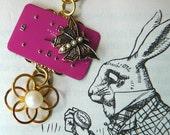 Steampunk Vintage watchface necklace, handmade necklace, butterfly