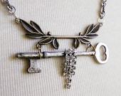 Skeleton key necklace  handmade vintage, ooak necklace, steampunk, industrial chic
