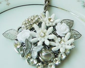Handmade bridal necklace, repurposed, collage , vintage