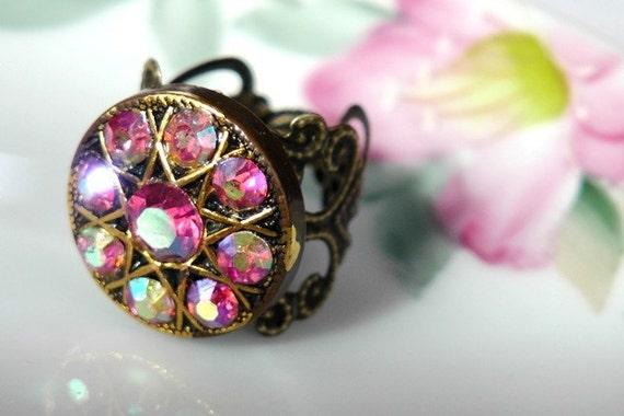 Pink sparkle vintage button ring