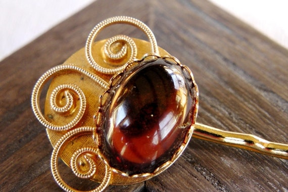 Art deco Hair accessory, handmade, amber, gold, upcycled, repurposed vintage