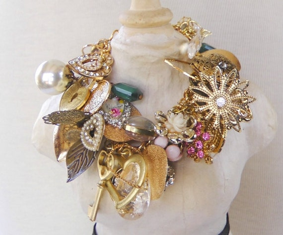 LOADED charm bracelet, hearts lockets vintage key, spring fashion