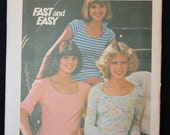 Vintage Butterick 4182 Misses Sewing Pattern for Knit T Shirts