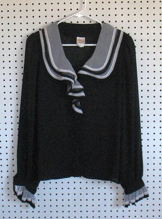 Pirate Blouse Sheer Black Ruffled  Vintage Sz 13/14