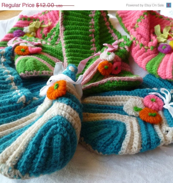 Lot of 3 Knitted Slippers with Flowers and Ribbons Size 7-7.5