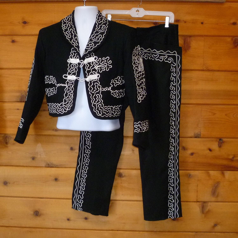 Charro Suit Mariachi Mexican Vintage Mens Size 40 Short
