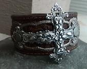 super pretty leather cross cuff