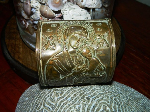 big and bold sacred our lady of perpetual help leather cuff