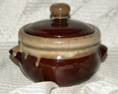 Miniature Hull Style Two Tone Brown and Tan Ceramic Drip Bean Pot with Lid