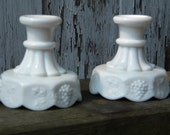 B63 - Set of 2 Vintage Milk Glass Candlestick Holders - Panelled Grape Pattern by Westmoreland Glass Co.
