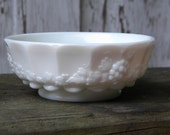 Vintage Milk Glass Bowl - Paneled Grapevine Pattern by Westmoreland Glass