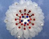 Captain America's Shield-inspired Penny Blossom Sparkly White Flower Barrette