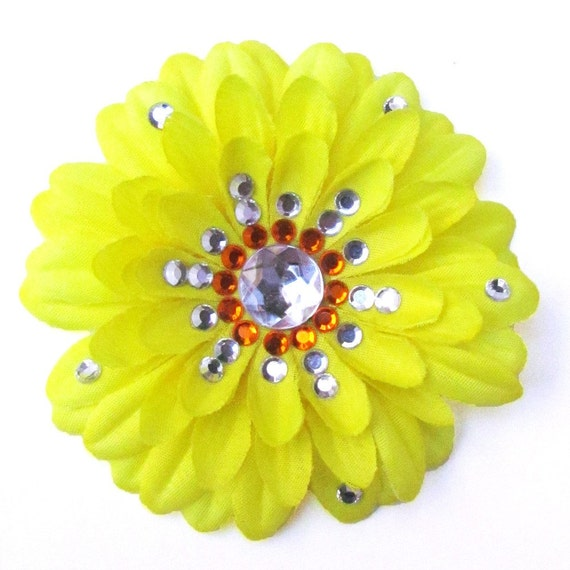 Yellow Penny Blossom Sparkly Flower Barrette (The Big Bang Theory)