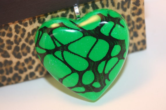 Neon Green with Purple Glitter and Black Webbing Heart Resin Pendant - Aull About You
