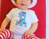 Cat In The Hat Dr. Seuss Inspired First Birthday Baby Bodysuit Girl or Boy Clothing